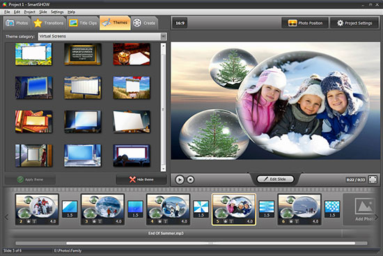 Photo slideshow themes