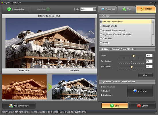 Smart slideshow maker: slide editing