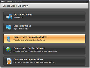 Video conversion options in SmartShow