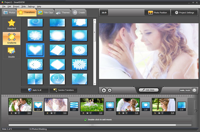 Romantic slideshow with transition effects